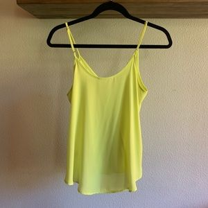 Lush Tops - Lush faux wrap camisole in highlighter yellow